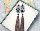 Tassel Earrings Beaded Long Tassel Earrings Swarovski Crystal Drop Earrings Blue Dangle Earrings Soutache Silk Earrings Gift For Women