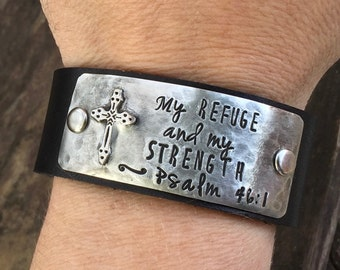 My refuge and my strength. Psalm 46:1 Scripture Leather Cuff Bracelet. Christian jewelry. Christian bracelet.