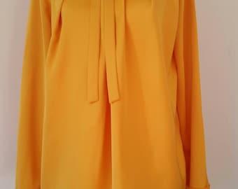 1940's style yellow satin blouse