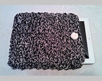 Chenille 10 Inch Tablet iPad Cover with Vintage Button, Hand Crocheted Tablet Sleeve, Black Gray, #IW-B1, Washable, Free Domestic Shipping