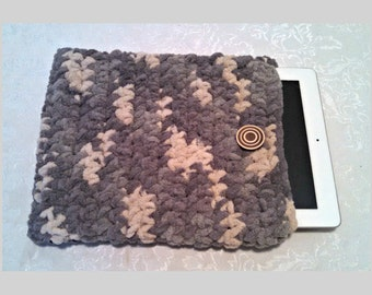 Chenille 10 Inch Tablet iPad Cover with Vintage Button, Hand Crocheted Tablet Sleeve, Gray, #SS-B10-2, Washable, Free Domestic Shipping
