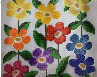 Hand-sewn Cross Stitch Art: Floral Army