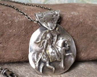 Equestrian Necklace, Joan of Arc, Joan of Arc Necklace, Dressage Necklace, Silver and 22K Gold Necklace, Horse Necklace