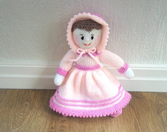 Hand Knit Victorian Doll - Traditional Doll - Knit Doll - Plush Doll - Traditional Doll - Size 13 Inches - 33cm  (Ready to Post)