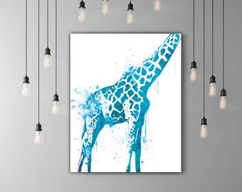 Animal Watercolor Giraffe Decor, Safari Art, Animal Drawing Print, Giraffe Art Print, Safari Decoration, Giraffe Gift, Printable Design