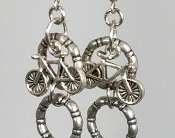 Bicycle Dangle Earrings, Bicycle Charm Earrings, Bicycle Jewelry, Bike Earrings, Gifts for Cyclists, Gifts for Her,  Silver Dangle Earrings