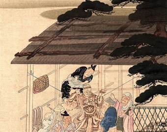 """1923, Japanese vintage Woodblock print, antique, Fujiwara Takakane, """"Sculptor of Buddha image"""""""