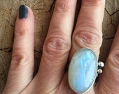 Moonstone two tone ring