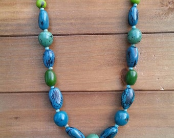 Shades of Blue Necklace with Acai Seeds and Other Nuts from Ecuador ~ Eco Friendly Sustainable Rain Forest Jewelry ~ Aqua Green Blue Beaded