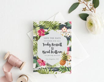Printable Save The Date Printable- Palm Destination Tropical Wedding Save The Date- Ready to Print PDF - Letter or A4 Size (Item code: P695)
