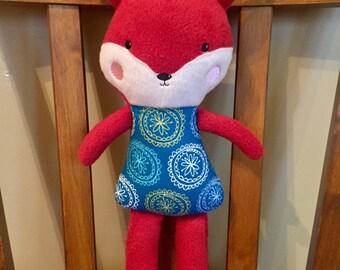 Stuffed plush fox, Personalized plushie, Embroidered fox, Custom stuffie, Handmade stuffed animal, Personalized cuddly fox