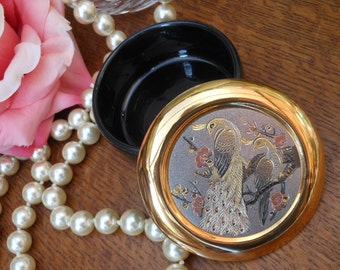 ETCHED JEWELLERY BOX 24K - Peacocks - Vintage jewellery box -for dressing table - Black, copper, silver and gold - Japanese - Cherry blossom