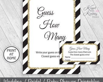 70% OFF - Guess How Many - Baby Shower Games - Guess How Many Sign - How Many Are There Tickets - Printable - 5x7 - Gold Black - G43-22