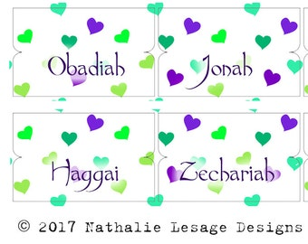 Bible Labels Bible Tabs Download Bible book labels planner tabs bible accessories paper tabs Purple Teal Hearts Design 2017BT7
