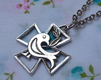 Dove on a Cross Pendant Necklace