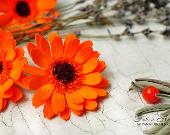 Calendula hair clip sunflower autumn gift Sunflower Accessory flower Girl clip orange flower clip floral girl Children's hair clip Toddler