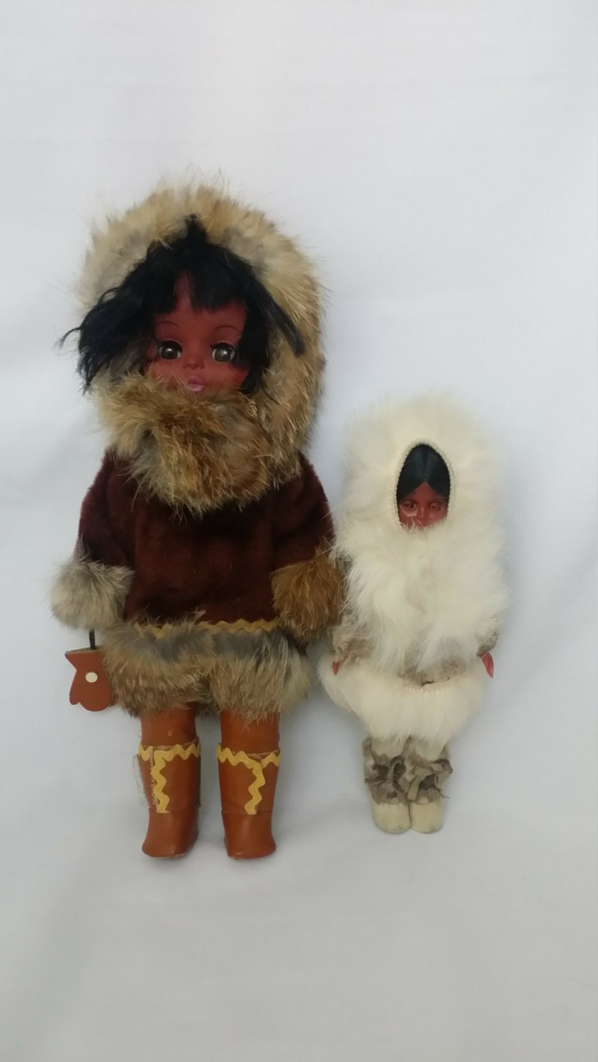 Real Fur Native American Indian Eskimo Set Of 2 Vintage