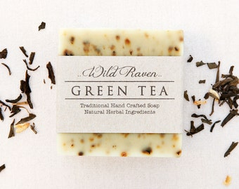 Green Tea Soap //  Handmade with All Natural Herbal Ingredients // Traditional Cold Process // Unscented Vegan Soap