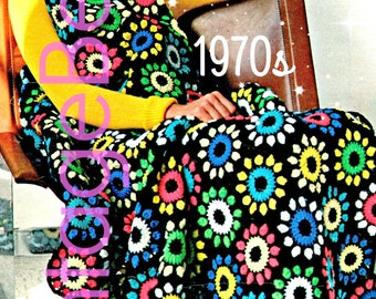 EASY Afghan Crochet PATTERN Vintage 1970s FLOWER Crochet Pattern Flower Garden Crochet Bohomian Home Decor Instant Download Pdf Pattern