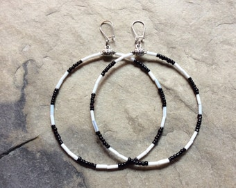 Big black and white striped hoops,  big seed beads earrings, black and white beaded stripes, hypoallergenic hooks, 3.75 inches