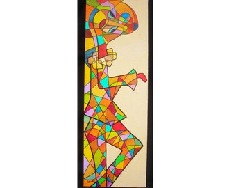 Arlecchino. Acrylic painting on canvas. Subject Italian Commedia dell'Arte. Colorful, abstract. Size 90 x 30 cm