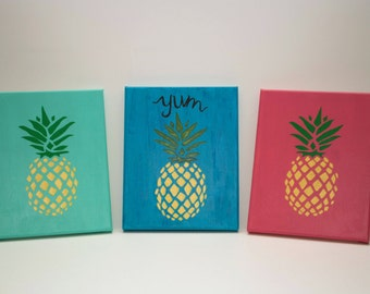Set of 3 Pineapple Canvases