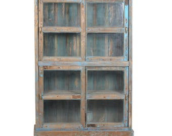 Colonial Painted Bookcase, Bookcase, Rustic Bookcase, Shabby Chic Bookcase, Wood Bookcase, Vintage Bookcase