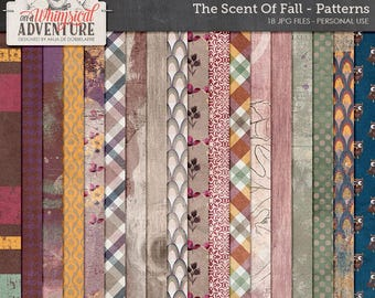 Fall Themed Papers, Autumn Mixed Media, Patterns, 12x12 Paper Pack, Digital Download, Digital Scrapbooking Backgrounds, Woodland, Owl, Plaid