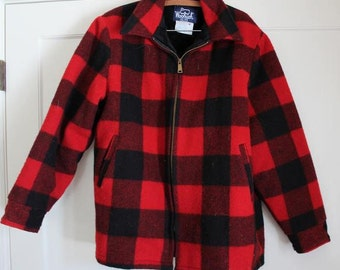 Vintage Fashion Woolrich Red Plaid Hunter's Coat Faux Fur Lined 1970's Zip Up Jacket Men's L