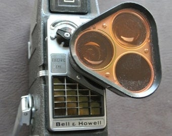 Vintage Movie Camera, Bell and Howell 393 Perpetua, Retro 8mm Camera, Electric Eye Movie Camera, Turret Camera, Cast Aluminum Body