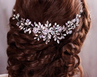 Wedding hair accessories Bridal hair piece Wedding headband Crystal hairpiece Rhinestone headpiece Bridal Hair Jewelry Bridal Headband Vine