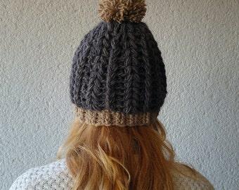 Gray beanie womens, Winter beanie with pom pom, Crochet beanie for her, Womens winter beanie, Gift for her, wool winter hat gray