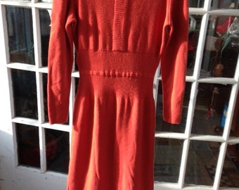 50's tomato red wool knit dress