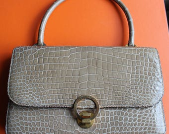 Hermes bag, ring pattern, beige crocodile, 70 s