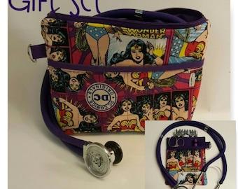 Nurse Bag and Matching Scrub Pocket Organizer! Stethoscope, Blood Pressure Cuff, CNA, RN, LPN, Vet Tech!  Wonder Woman Gift Set!