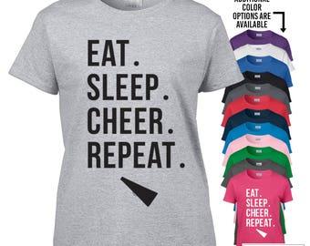 Cheer t-shirt / Eat. Sleep. Cheer. Repeat. Shirt / Cheer Shirt / Cheerleader Tee / Tumblr Shirt / Instagram Shirt / Cheerleader Shirt / 122