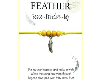 FEATHER... Inspirational WishLet (Wish Bracelet)