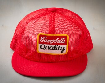 """70's Vintage """"Campbell's Quality"""" Snapback Mesh Trucker Hat (c.1980's) """"Campbell Soup Company"""" 