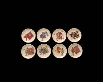 Vintage Set of 8 Ceramic Coasters Depicting Heraldry Herald with Flags & Coats of Arms Italian Italy in the manner of Piero Fornasetti