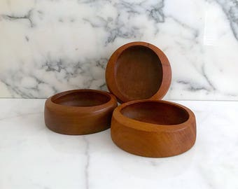 Vintage Mid Century Modern Staved Teak IHQ Jens Quistgaard Set of 3 Teak Wood Bowls Round with Oblong Openings Denmark