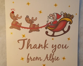 Printed Personalised Christmas Thank You Cards x5