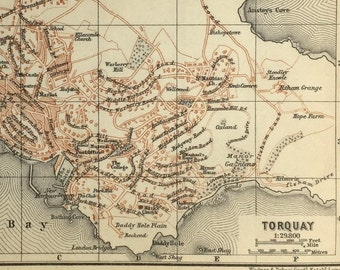 Vintage map of Torquay (genuine 1901 antique) with option to handcut with custom words