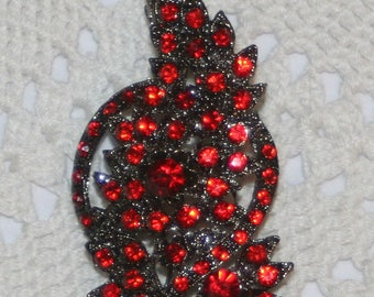 Gorgeous Large Dark Silvertone Ruby Red Rhinestone Floral Bouquet Pendant Necklace Brooch Pin