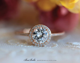 1.58 ct.tw Classic Halo Engagement Ring-Brilliant Cut Center-Bridal Ring-Wedding Ring-Rose Gold Plated-Sterling Silver [0754RG-1]