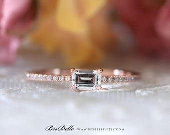 1/2 ct.tw Emerald Cut Diamond Simulant Engagement Ring-Solitaire Ring-Bridal Ring-Stackable Ring-Rose Gold Plated-Sterling Silver [1754RG]