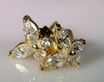 14K Gold Post Earrings, Butterfly Earrings, CZ Butterfly Earrings, Pierced Earrings, One Pair of Butterfly Post Earrings, Vintage Earrings