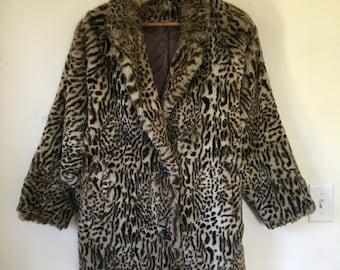 Vintage Leopard Print Faux Fur Coat Large