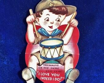 1930's Boy Scout Drummer Valentine Card