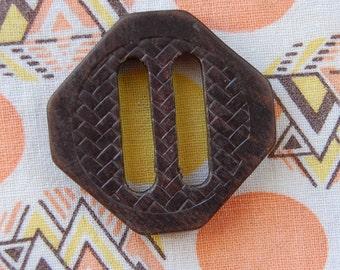 """1930s Arts and Crafts 2"""" vintage Natural Wood Belt Buckle Slide"""