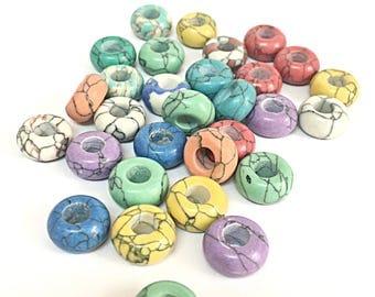 Gemstone European Beads For European Bracelets 12pcs, Big Hole Beads, European Charms For Bracelets, Large Hole Beads Charms For Bracelets